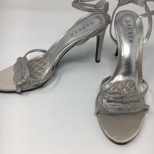 Ralph Lauren taupe high heel formal sandals sz 9.5